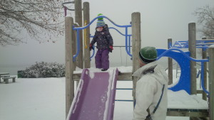 Snow slide! (Love the pom-pom)